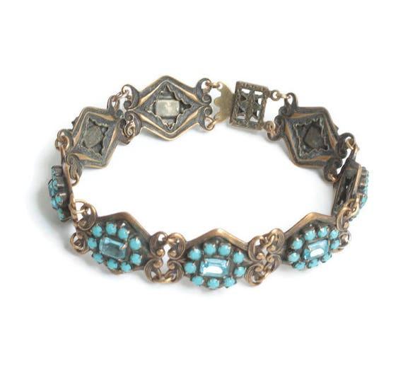 Turquoise Bead and Rhinestone Link Bracelet Filigree Repousse Design Vintage
