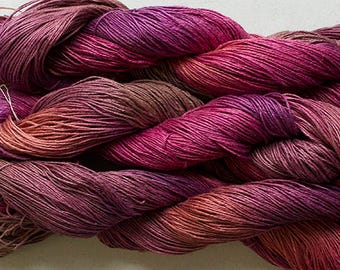 Linen 16/4, Hand painted yarn, 300 yds -  Red Oak