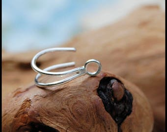Silver Nose Ring - Turn Your Stud into a Double Hoop Silver Nose Ring - with this Enhancer - CUSTOMIZE