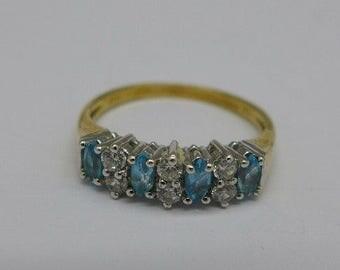 Ring - 9ct Gold Topaz and Rhinestone Ring