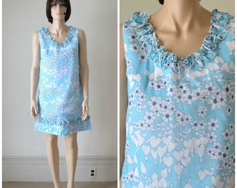 60s Mini Dress Hearts and Daisy Print Blue and White Go Go Dress
