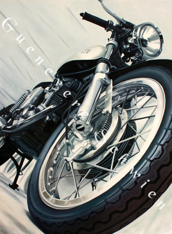 "Archival Print of ""Vintage Ducati"" oil painting"
