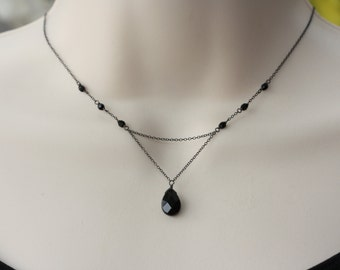 Jet Black Silver Delicate Y Necklace, Birthday Gift for Wife, for Sister, Retro, Vintage Style, Downton Abbey, Goth  Weddings, Trending Now