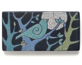 Bird ,Tree,Ceramic Wall Art ,Aqua bird,Ceramic tile,handmade 3x6 inch raku fired art tile