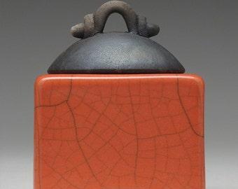 poppy red ceramic box, Pottery,Raku,  Trinket Box, Treasure Box, home decor,handmade art pottery