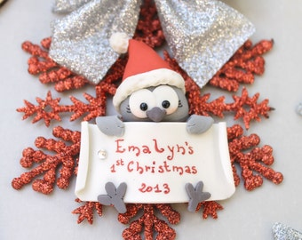 Personalized baby's first Christmas ornament - Owl, bunny or penguin - gift mum to be expecting children newborn kids room decoration