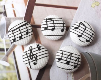 Retro Chic Black Purple Music Notes Collection, Choose Color - Handmade Fabric Covered Buttons(0.75 Inches)