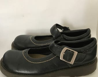 "Black Bump Toe Mary Janes made by Lower East Side as a Doc Marten Copycat uS Women's size 6 ""vegan"""