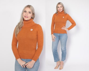 Vintage 70s TURTLENECK Sweater / 1970s PIERRE CARDIN Pumpkin Wool Fitted Knit Top S