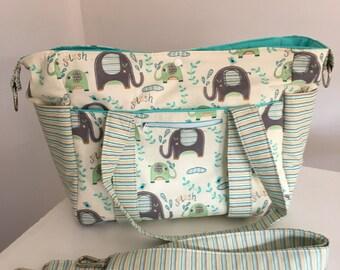 Elephant Splash Nappy Bag with Long Strap