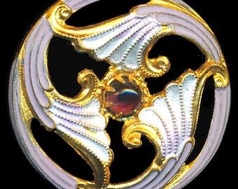 Button--Early 20th C. Painted Brass & Glass Jewel Art Nouveau Trefoil