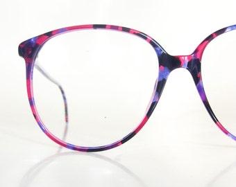 Vintage Purple Round Eyeglasses Avant Garde Luxottica Deadstock Italy Italian Plum Pink Magenta Lilac Black Mottled 1980s 80s Eighties Glam