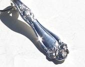 Spoon Keychain Silverware Key Ring American Beauty Rose Pattern  No Monogram Romantic Bridesmaid Gift