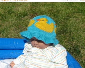 50% OFF SALE Instant Digital File pdf download knitting pattern Baby and Child Rubber Duck Sun Hat knitting pattern