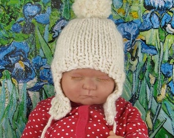 50% OFF SALE Instant Digital pdf download knitting pattern-Baby Bobble Superfast Trapper  Hat pdf download knitting pattern by MADMONKEYKNIT