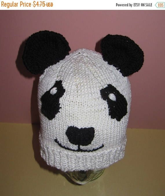 50% OFF SALE Instant Digital File pdf download knitting pattern - madmonkeyknits Panda Animal Bear Beanie knitting pattern pdf