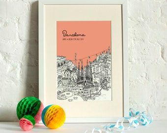 Personalised Barcelona Print | Unique Wedding Gift | Barcelona Illustration | Barcelona Poster | Art Prints | Valentines Gift | City Skyline