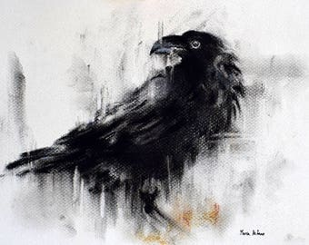 Original Charcoal Drawing Black and White Crow Drawing  12x8""