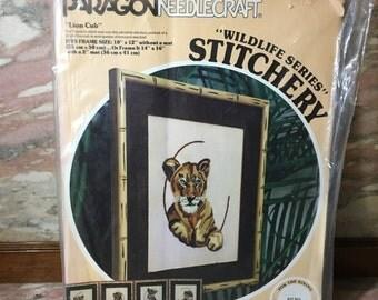 Crewel Embroidery Kit LION CUB 1978 Paragon Needlecraft Susan Goldsmith Wildlife Series