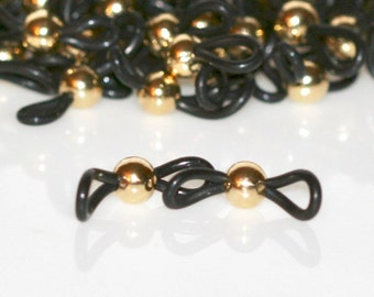 Beaded Eyeglass Loops In Lots of 10, 25 or 50. Bright Silver, Antique Silver or Bright Gold. Jewelry Supplies