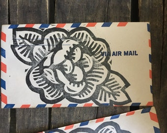 Woodcut Rose on Air Mail