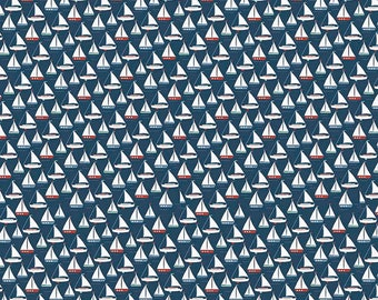 Riley Blake Fabric Sea Boat in Navy,  choose your cut