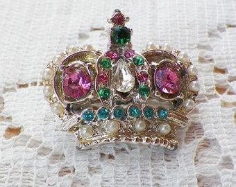 Vintage Crown / Crown Shaped Pin / Brooch / Broach with Tiny Faux Pearls and Rhinestones in Pastel Pink, Aqua Blue, and Green, Shabby & Chic