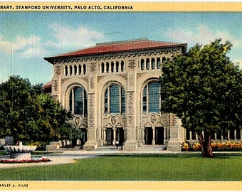 Vintage California Postcard - The Library at Stanford University (Unused)
