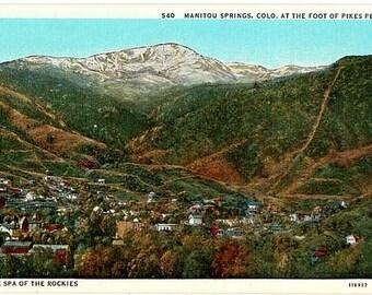 Vintage Colorado Postcard - Manitou Springs at the Foot of Pikes Peak (Unused)