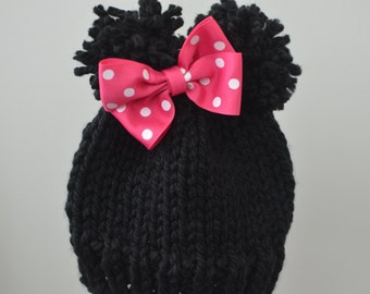 Minnie Mouse Inspired Hat, Character hat, Kids Hat, Toddler Hat, Knit Hat, Minnie Mouse Knit hat, Minnie Mouse Photo Prop