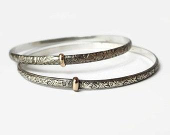 Thistle Sporran Key Bangle Bracelet - Solid Sterling Silver or 14ktgf accents - Celtic - Highlander - Blood of my Blood - Sporran Key Accent