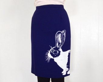 SALE Dutch Rabbit skirt - screenprinted, royal blue fitted knee length skirt - vintage upcycled, one of a kind - Jones New York Petite 4