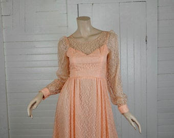 70s Peach Prom Dress in Lace- 1970s does 50s- Illusion / Sheer Sleeves- Petite