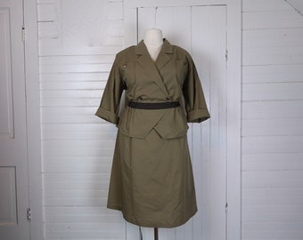 90s Military Style Dress in Olive Green- 1990s Uniform Look- Punk- Plus Size Peplum Dress