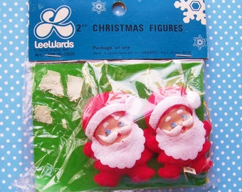 "Vintage Leewards Creative Craft Santa Figurines Ornaments Fuzzy  Decoration 2"" tall"