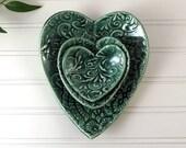 Heart Dish Set, Ceramic Heart, Ring Dish, Set of 3, Handmade Porcelain Heart, Green Decorative Plates, Heart Trinket Dish, Gift for Her, 377