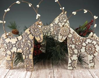 Horse Ornament - Christmas Ornament - Tree Decoration - Holiday Ornament - Horse Lover Gift - Horse Decor - Handmade Pottery - Ready to Ship