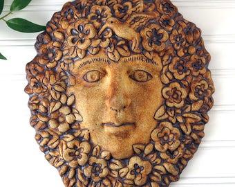 Greenman, Pottery Green Man, Green Woman, Pagan, Goddess, Yard Art, Handmade Garden Decor, Garden Sculpture, Ceramics and Pottery, 370