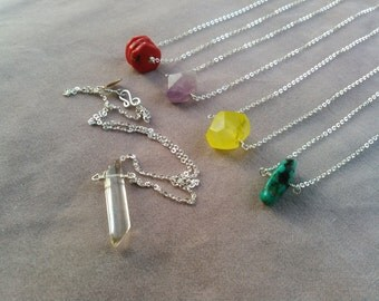 sterling silver and gemstone wish necklace