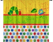 ON SALE Custom Window Curtain or Valance, Hungry Caterpillar Theme- Any Size or Any Patterns