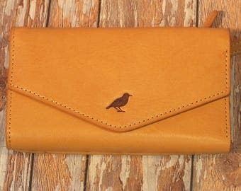 Birch Flap over Leather Ladies Purse Wallet with lots of practical pockets