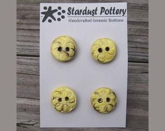 Ceramic Buttons 2-hole Round Circular Textured Design Yellow (set of 4)