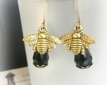Bumble Bee Earrings - Honey Bee Earrings - Bee Jewelry - Gold Bees Black Drops - Bee Drop Earrings - Christmas Gift Her - Honey Bee Ears -