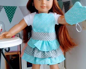 18 inch doll apron set - minty blue floral and gray polka dots