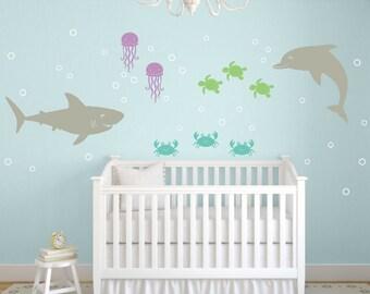 Sea Ocean Wall Decal Set, Nursery Sea Ocean Friends, Ocean Wall Decals, Sea Vinyl Decals, Sea Nursery, Dolphin Decals, Childrens Wall Decor