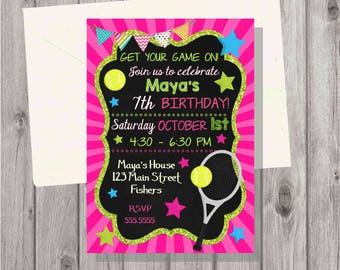 DIGITAL Tennis Sports Glitter & Chalkboard Birthday Girl Party Invitation