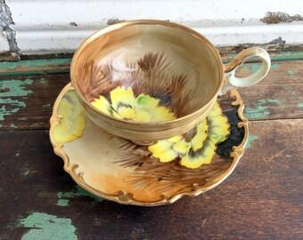 Vintage Teacup Tea Cup and Saucer Hand Painted Yellow Cactus Flower Saji Japan