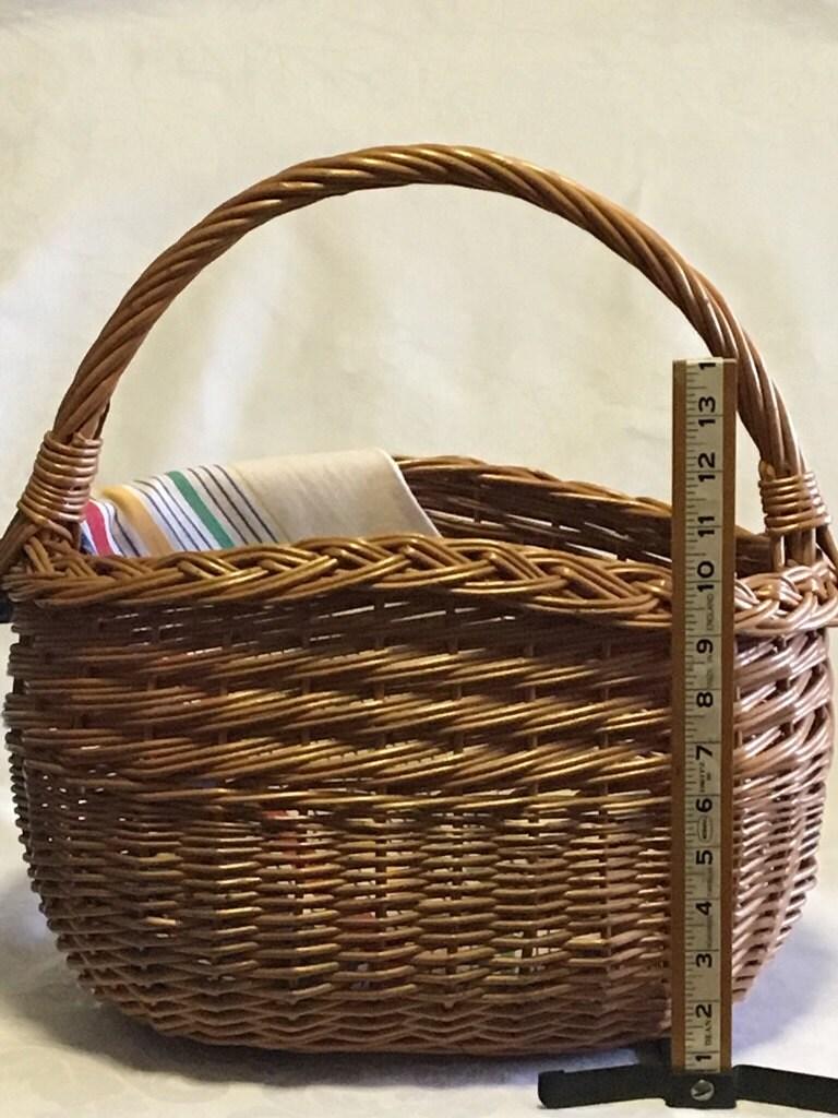 Vintage wicker basket large reed basket oval wicker basket for Wicker reed