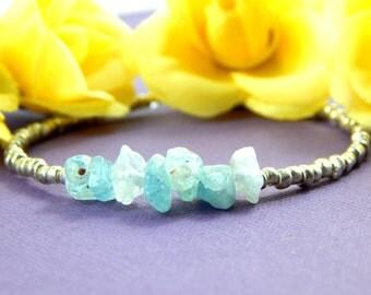 Aquamarine Bracelet, March birthstone bracelet,Aquamarine Chip Bracelet, Layering Bracelet, Gemstone Bracelet