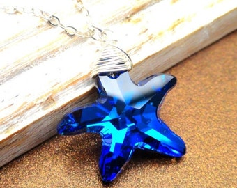 Christmas Sale Starfish Necklace, Bermuda Blue Swarovski Starfish Necklace, nautical necklace,  Sterling Silver,  Wire Wrapped